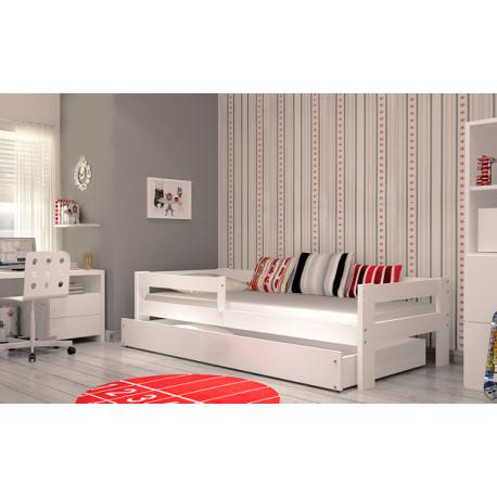 lit enfant en bois de pin massif dino avec tiroir et matelas 160x80 cm. Black Bedroom Furniture Sets. Home Design Ideas