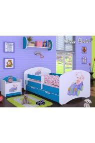 Lit enfant Happy Bleue Collection avec tiroir et matelas