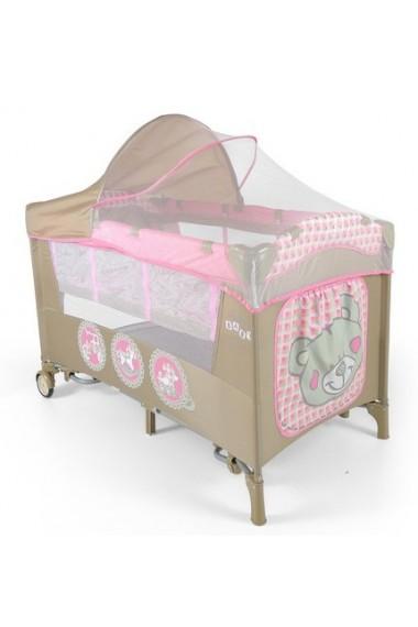Lit parapluie avec table à langer Mirage Jouets Roses