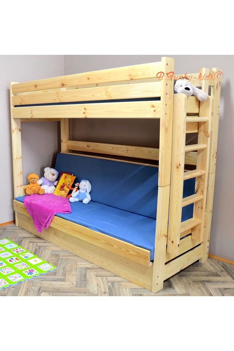 lit superpos en bois massif carlos avec matelas 200x90 et 200x120 cm. Black Bedroom Furniture Sets. Home Design Ideas