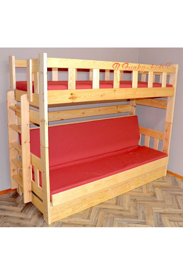 lit superpos en bois massif fabio avec matelas 180x80 et 180x110 cm. Black Bedroom Furniture Sets. Home Design Ideas