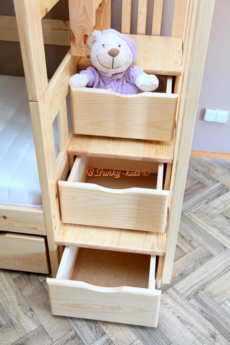 Lit Superposé Marche Escalier lit superposé avec escalier rangement enrique 200x90 cm