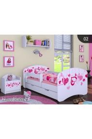 Lit enfant Happy Collection pour Filles avec tiroir et matelas