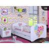 Lit enfant Filles Collection de Dessins avec tiroir et matelas 140x70 cm