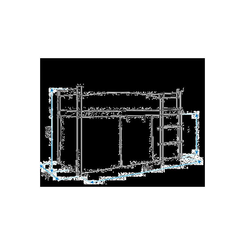 lit mezzanine sur lev ballet avec matelas et rideau. Black Bedroom Furniture Sets. Home Design Ideas