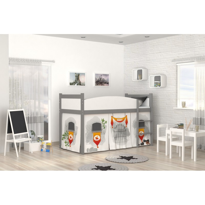 lit mezzanine sur lev ch teau avec matelas et rideau. Black Bedroom Furniture Sets. Home Design Ideas