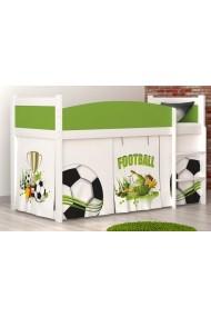 Lit mezzanine surélevé Football avec matelas et rideau
