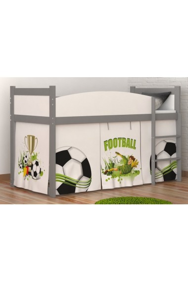 lit mezzanine sur lev football avec matelas et rideau. Black Bedroom Furniture Sets. Home Design Ideas