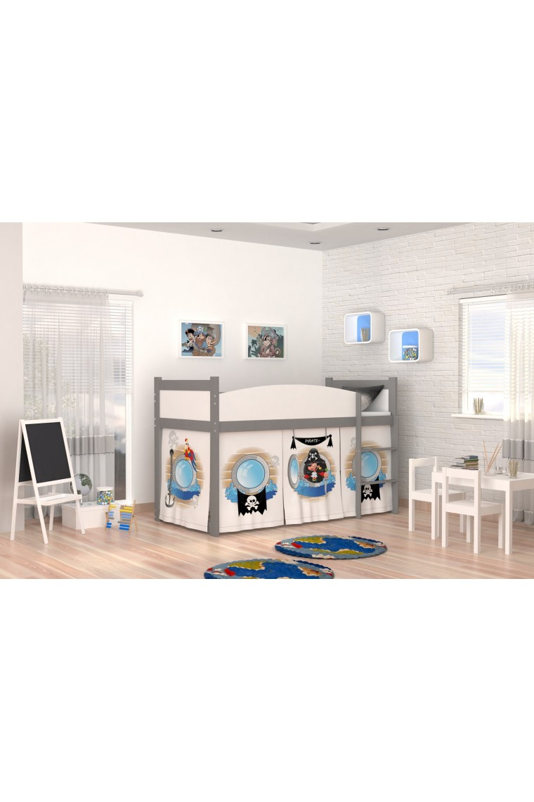 Lit mezzanine sur lev pirates 1 avec matelas et rideau - Rideau pour lit sureleve ...