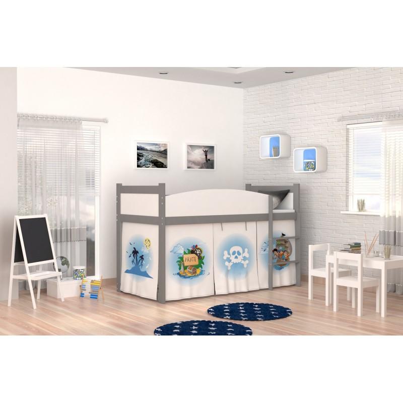 lit mezzanine sur lev pirates 2 avec matelas et rideau. Black Bedroom Furniture Sets. Home Design Ideas