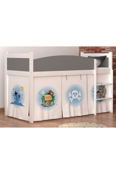 lit mezzanine sur lev pirates 2 avec matelas et rideau. Black Bedroom Furniture Sets. Home Design Ideas