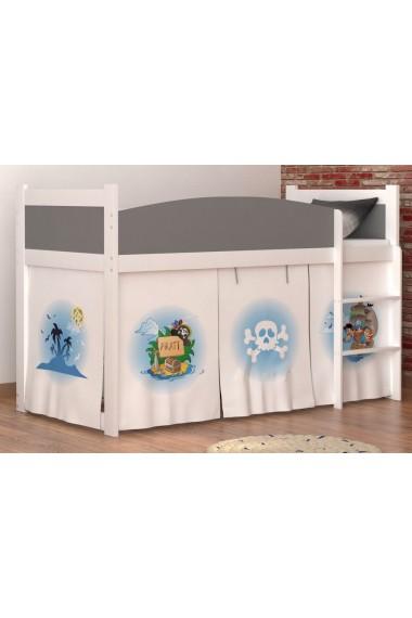 Lit mezzanine sur lev pirates 2 avec matelas et rideau - Rideau pour lit sureleve ...