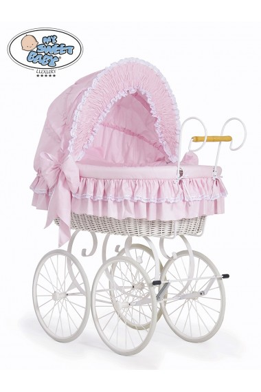 Berceau bébé Vintage Rétro osier - Rose-Blanc