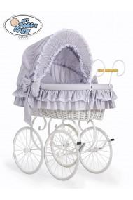 Berceau bébé Vintage Rétro osier - Gris-Blanc