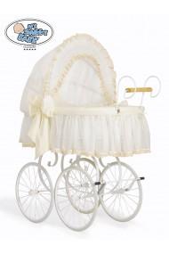 Berceau bébé Vintage Rétro osier - Crème-Blanc