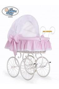 Berceau bébé Vintage Rétro osier - Rose