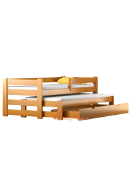 Lit gigogne en bois massif avec tiroir et matelas Pablo 160x70 cm
