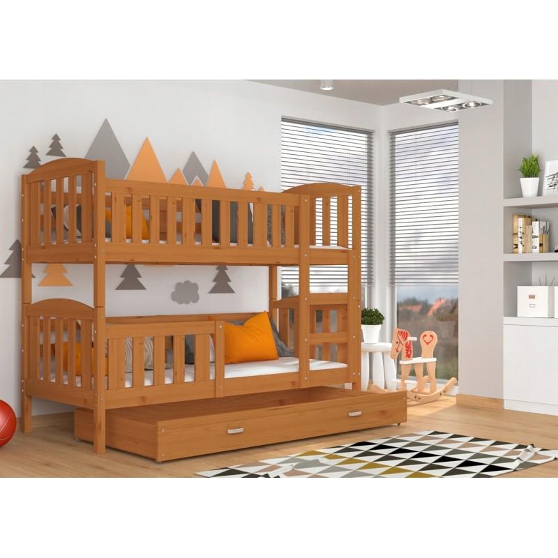 lit superpos en bois massif jacob 2 avec tiroir 190x80 cm. Black Bedroom Furniture Sets. Home Design Ideas