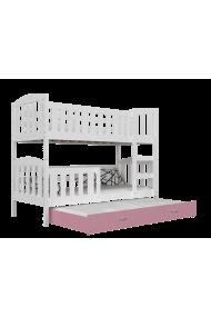 Lit superposé avec lit gigogne Jacob 3 160x80 cm